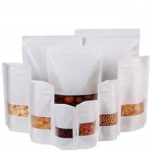 100pcs lot Kraft Zipper Stand Up Bag Reclosable White Paper Bags for Food Storage Snack Cookie with Matte Window Package