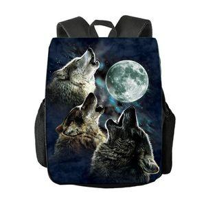 Рюкзак Сменный узор Wolf Hoyling Moon Men Rucksack Travel Bags Treeanger Boys School Ноутбук Bookbag