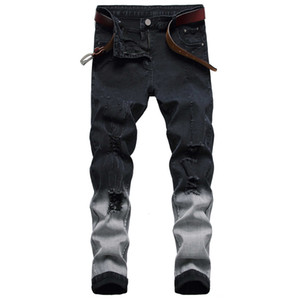 New Men Ripped Ny Slim Fit Mens Black Denim Casual Fashion Men's Pencil Broek Hommes Rights Diesel Jeans