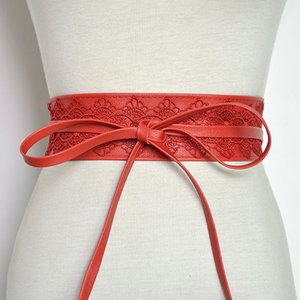 Badinka New Sale Korean Black White Red Wide Corset Waist Lace Belt Female Waistband Belts for Women Waist Band Cinturon Mujer F