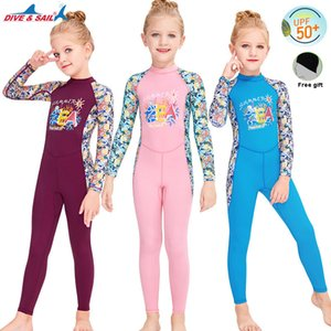 Children's Diving Suit UPF50+ Outdoor Long Sleeves surf UV protection Swimsuit kids wetsuit girls quick-dry snorkeling swimwear