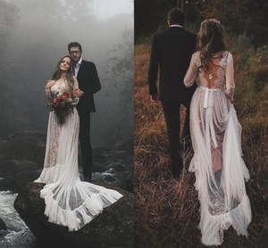 Romantic Country Wedding Dresses Long Train A-Line 2021 Sexy Backless Nude And Ivory Bohemian Bride Beach Wedding Dress Boho Bridal Gowns