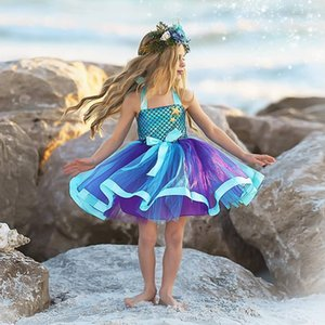 Stylish Cosplay Princess Flower Girl Dresses The Little Mermaid For Beach Wedding Toddler Pageant Gowns Tulle Knee Length Party Dress