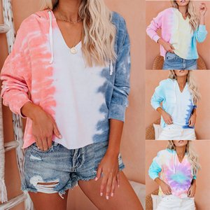 Women's T-shirt 2021 new spring summer fashion hot sale tie dye V-neck hooded long sleeve Pullover casual women's sweater