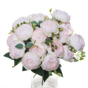 Flores artificiales Peonías de seda Roses Ramo de jarrón de alta calidad para la decoración del hogar Boda de Navidad decorativa decorativa de plantas falsas