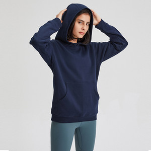 Sport Fitness Hoodies Women Autumn Winter Fleece Hooded Sweatshirt LU-123 solid Gym Outwear Warm Sweat Femme yoga Sweatshirt Jacket Coat