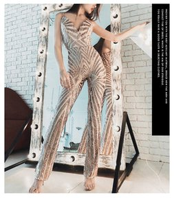 2021 Gold Sequin Jumpsuit Evening New Arrival Sexy V-neck Backless Formal Party Pant Robe De Soriee T36m