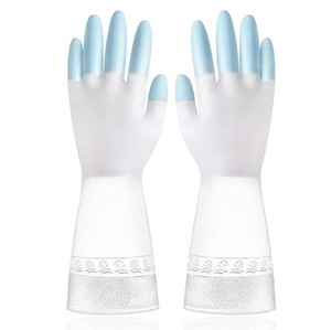 Thickening Wash Clothes Wash Dishes Glove Female Dishwashing Plastic Latex Two-Color Waterproof Household Kitchen Cleaner Glove FFC5456