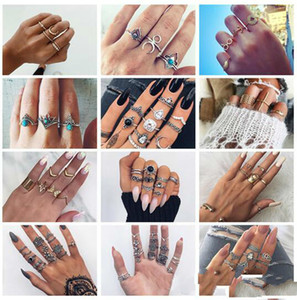 2020 20 styles Retro Flower Infinite Knuckle Rings For Women Vintage Geometric Pattern Crystal Rings Set Party Bohemian Jewelry ALXX 01