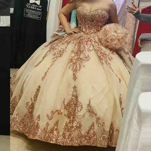 Rose Gold Appliques Ball Gown Quinceanera Dresses Sweetheart Short Sleeves Lace Up Back Plus Size Graduation Dress Girls Prom Gowns