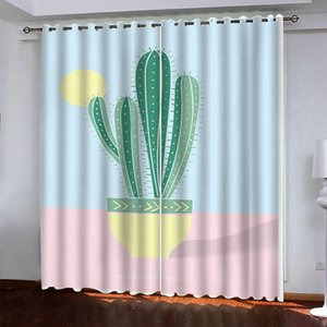 Modern plant Blackout Curtain Cartoon Space Kids Bedroom Drapes Custom Fashion Kitchen Door Curtains