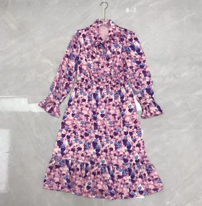 New fashion feminine print ribbon dress for early spring 2021
