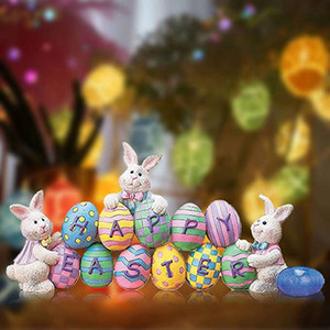 Easter Door Pendants Cartoon Rabbit Doorplate Hanging Decor Funny Colorful Rabbit Easter Eggs Door Hangings WWA176