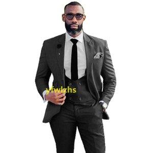 Customize tuxedo One Button Handsome Peak Lapel Groom Tuxedos Men Suits Wedding Prom Dinner Man Blazer(Jacket+Pants+Tie+Vest) W969