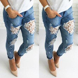 Bayan kot pantolon ilkbahar yaz yeni modası 2021 artı boyutu ince gömme yırtık kot kadın rahat skinny delik kalem dantel pantolon