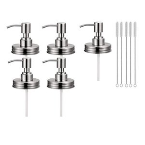 5Pack Mason Jar Soap Dispenser Lids with Pumps, Rustproof Stainless Steel Lotion Soap Dispenser Lids Replacement