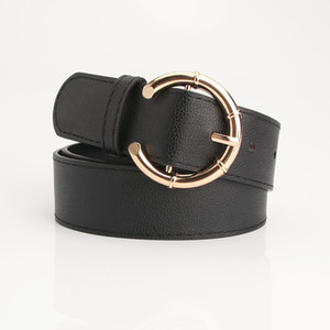 New Women Fashion Strap W 3.4cm Pu Leather Belts Designer Luxury Gold Pin Buckle Decorative Belt Feamle Jeans Accessories