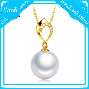 Ys Real Diamond 18K Solid Gold 10-13 mm Natural Freshwater Edison Pearl Hanger Chain