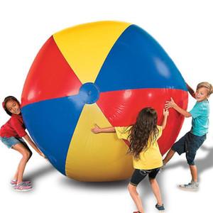 Giant Rainbow Inflatable PVC Beach Ball Colorful Swimming Pool Accessory Inflated Ball Children Summer Holiday Outdoor Water Toy