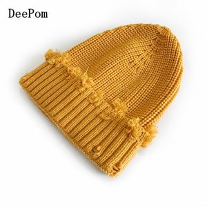 DeePom Autumn Winter Hats For Women Girls Kids Adult Beanie Hat With Broken Hole Knitted Hat Cap Bonnet Parent Child Solid