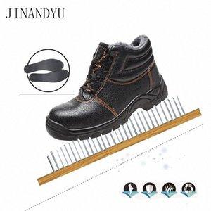 Outdoor Werkstiefel Winter Warmstahl Zehen Safety Schuhe Leder Schneeschuhe Männer Schuhe Anti Smashing Anti Piercing Work 08pu #