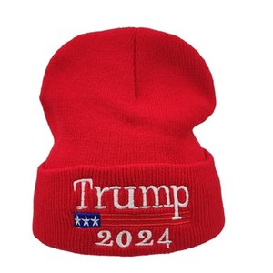 2024 Trump Hat Presidential Election Spring Knitted Wool Caps Adults Trump Supporter Knitted Hats Winter Beanies Skull Caps Hip Hop G3302
