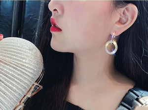 2020FAHMI New Designer 925 silver needle rhinestone circle crystal from Swarovski long earrings temperament Korean personality wild earrings