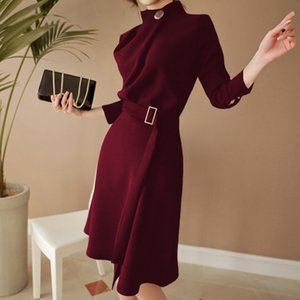 New Arrival Autumn Women Elegant Button Stand neck Belted Long Sleeve Work Business Party black wine red Split Dress Vestidos 210222