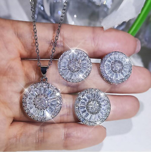 Sparkling Live Luxury Jewelry Set Ins Top Sell 925 Sterling Silver Full Princess White Diamond Stud Earring Wedding Ring Clavicle Necklace
