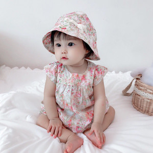 2021 free shipping Summer Baby Clothes New Rompers Clothing Fashion Cute Cherry Prints Kids Clothing+ Hat Toddler Girl dress