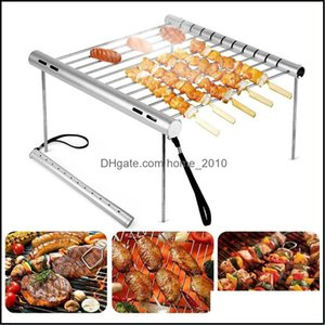 Grills Outdoor Cooking Eating Patio, Lawn Garden & Gardenportable Stainless Steel Folding Bbq Grill Mini Pocket Barbecue Aessories For Home