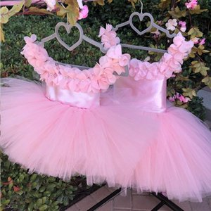 Girl's Dresses Cute Pink Flower Girl Infant Pageant Puffy Robe De Demoiselle Kids Princess Birthday Party