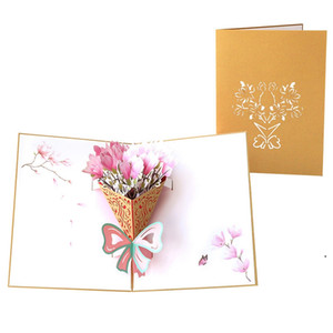 Mother's Day Card 3D Pop-Up Flowers Birthday Card Anniversary Gifts Postcard Mothers Father's Day Greeting Cards DHD5100