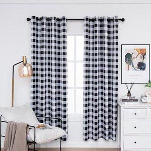 Cortinas negras a cuadros para paneles de aislamiento térmico de dormitorio Cortinas de ventana a cuadros para sala de estar en blanco y negro