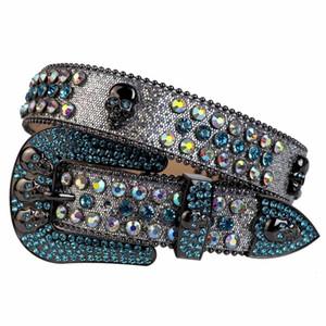 Men's Fashion Bling Swarovski Crystal Silver Glitter Leather Rhinestone Belt Studded Belt Removable Western Skull Buckle & with Skull Concho
