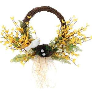 Искусственные птицы венок Forsythia венок для входной двери стены стены свадьба деревенский фестиваль вечеринка дома украшения