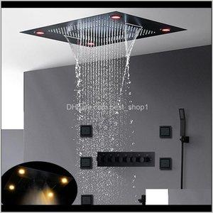 럭셔리 가장 완성 된 매트 블랙 샤워 세트 숨겨진 천장 대규모 강우량 샤워 헤드 폭포 안개가 자욱한 온도 조절 식 목욕 시스템 K2 AQWZJ
