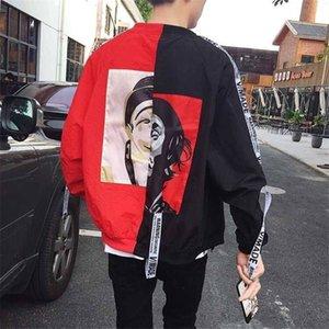 2021 New Revestimento Outono Patchwork Camisolas Do Com Zper Hip Hop Hoodie Engraado High Street Roupas Streetwear rapho Fresco Moletom GNMF