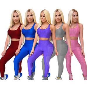 Plus Size Womens Tracksuit Solid Color Two Piece Yoga Sports Sets Summer Ladies Mesh Sexy Open Navel Vest Leggings Sportswear Hot Sell