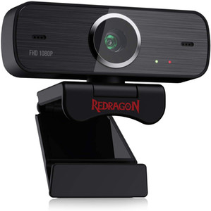 Redragon GW800 1080P Webcam with Built-in Dual Microphone, 360-Degree Rotation - 2.0 USB Skype Computer Web Camera