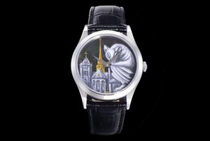 Mens Watches FL 5077 Micropainted Enamel Cal.240 Automatic Movement Diameter 38.6mm Leather Watchband Through luxury watch