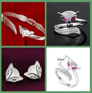925 Sterling Silver plating Fox Ring Bracelet Earrings Rings love with Women Wedding Party Fashion crystal Rings Bracelet love open design
