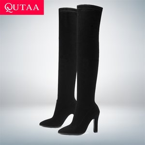 QUTAA Women Over The Knee High Boots Slip on Winter Shoes Thin Heel Pointed Toe All Match Size 34-43 210913