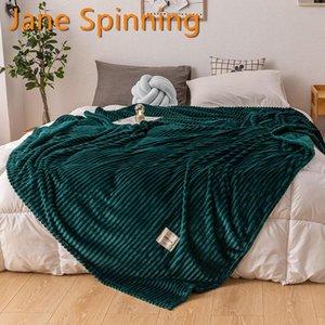 Jane Spinning Bed Couverture Vert Couleur Vert Flanelle Soft Flanelle Simple Queen King Plaids chauds pour lits Mantas de Cama Thow Couvertures