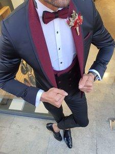 New Style Groomsmen Shawl Burgundy Lapel Groom Tuxedos Black Men Suits Wedding Prom Dinner Best Man Blazer ( Jacket+Pants+Tie+Vest ) W990