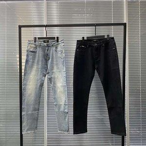 Mens Jeans Fashion Représenter Élastique lavé Retro Jeans droite Bleu Black Noir Denim Pantalon Pantalon de moto