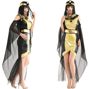 Sexy Golden Ancienne Égypte Reine Robe arabe Princesse Robes Carnival Cosplay Fête Egyptiens Costume Cléopatra pour Adulte femme