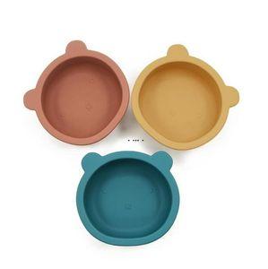 سيليكون عاء الطفل تغذية المائدة الدب شكل لوحة مع عدم الانزلاق مصاصة الرضع الطفل وعاء التغذية أطباق HWD5212