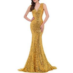 2020 new wedding gold banquet slim Sequin long wedding dress backless dress9MPS759Q759Q
