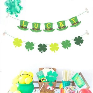Decoraciones del día de St Patrick Los tréboles verdes Banners Set Shamrock Lucky Irish Party Garlands Festival irlandés Festival de látex Globos Sets DHF4924